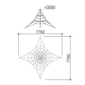 Канатный лаз (черный канат + металлический крепеж) Romana 601.01.02